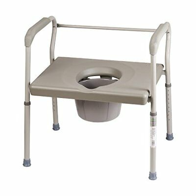 Duro-Med Portable Toilet Bedside Commode Chair Heavy-Duty Steel Safety Frame