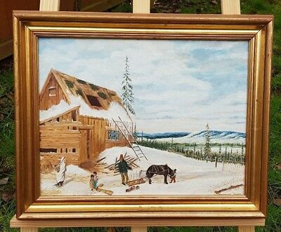Vintage Oil Painting Snowy Town Early 20th Century Art Gilt Frame
