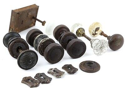 Vintage Antique Door Knob Lot  - Brass, Bakelite, Glass, Porcelain Lock Key Hole