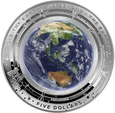 2018 $5 THE EARTH - DOMED EARTH AND BEYOND 1 Oz Silver Coin.