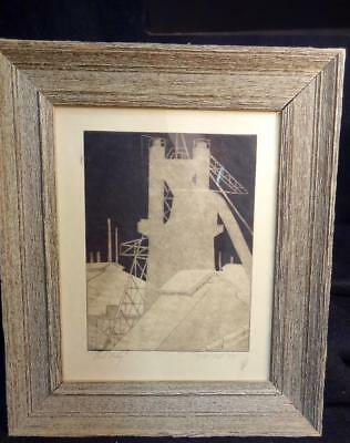 "Dated & Signed 1958 Mid Century Block Industrial Print Titled ""Steel Lady"""
