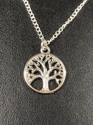 """TREE OF LIFE WICCA PAGAN NECKLACE PENDANT 16 & 18"""" Silver plated chain gift bag"""