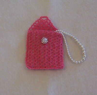 Hand Crochet Dark Pink with Light Pink Lining Rosary Jewelry Pouch Case