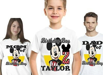 Mickey Mouse Birthday Shirts Shirt T-Shirt Family Party Theme Supplies Custom