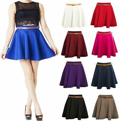 Ladies Girls Skirts Women's Belted Flared Plain Mini Skater Skirt Sizes UK 8-14