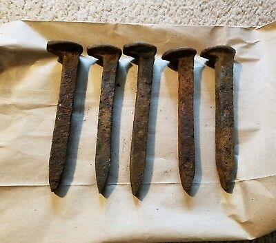 "5 Vintage Railroad Spikes Antique Blacksmith Train Track Nail 6.5"" LOT OF 5"