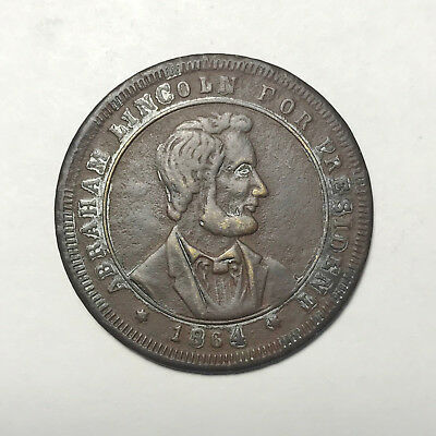 Abraham Lincoln 1864 Campaign Token 30mm Silvered Brass