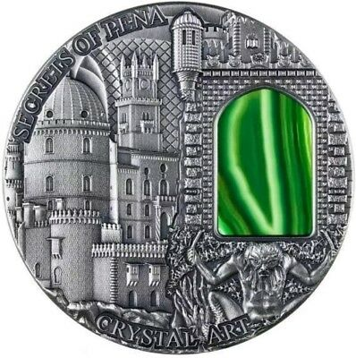 2014 2 Oz Silver CRYSTAL ART SECRETS OF PENA Coin with Crystal Window.