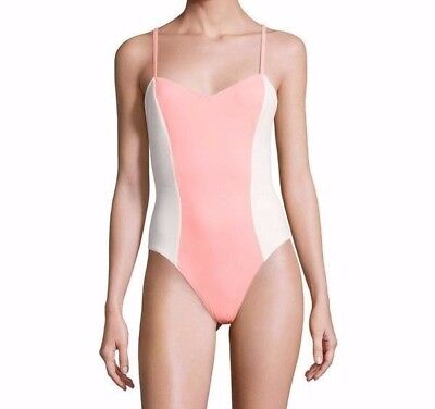 Solid and Striped The Diana One-piece Swimsuit Coral/Cream Womens M