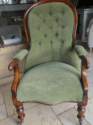 ANTIQUE VICTORIAN MAHOGANY  BUTTON BACK ARMCHAIR - green