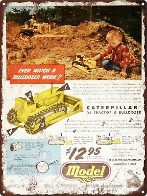 "1952 Caterpillar Toy Tractor Bulldozer Man Cave Metal Sign Repro 9x12"" 60490"