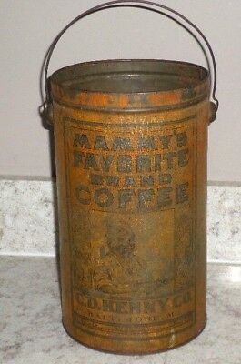 Vintage MAMMY'S FAVORITE BRAND COFFEE 4lb Tin Can C.D. Kenny Co. Black Americana
