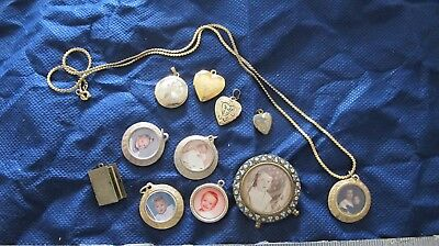 VINTAGE LOT OF LOCKETS Picture Pendants Notebook Antique miniature picture frame