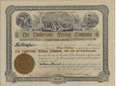 WYOMING 1908 The Timberlake Mining Company Stock Certificate Baggs