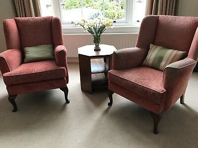 Pair of Victorian antique wingback chairs.