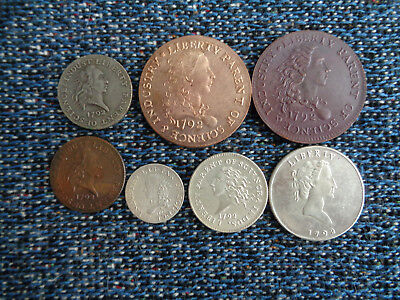 US 1792 Proposed Pattern Coins Silver Plated Copper 7 Coins Fantasy Issue!