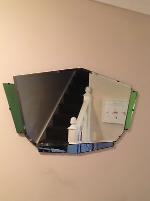 Striking Retro VINTAGE ART DECO 1950s/1960s Coloured Glass Bevelled Mirror