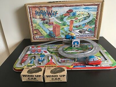 Blechspielzeug/ Tin plate toys by Welby  - Autobahn/ HIGHWAY SET/ OVP rare