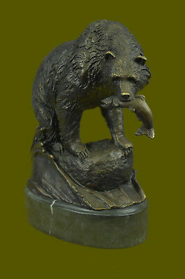 Handcrafted Black Ferocious Bear Hunting Great Detail LostWax Method Statue