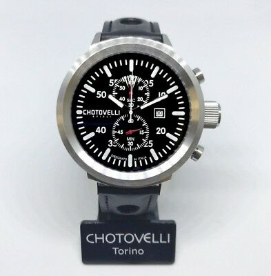 Chotovelli Big Pilot Men's Watch uboat homage Chronograph Italian leather 747.11
