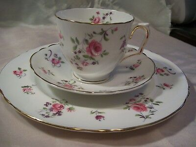 Crown Staffordshire Trio Fine China England Floral Teacup Saucer Luncheon Plate