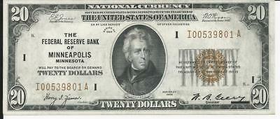 Exceptional 1929 $20 Federal Reserve Banknote. Rare Minneapolis Gem Uncirculated