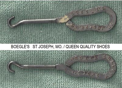 Rare Advertizing Button Hook Shoe Store Boegles St Joseph Mo Queen Quality