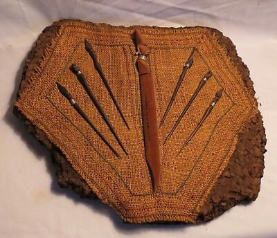 AFRICAN Carved Wooden Hair Sticks Display on Cork along with Letter Opener