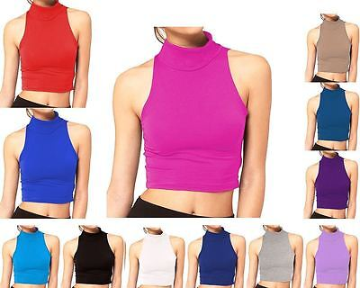 Ladies Sleeveless High Polo Turtle Neck Cropped Womens Summer Vest Casual Top