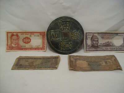South Vietman 1966 100 Dong - 200 Dong and one large coin