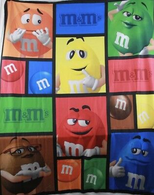 M&M'S WORLD NEW FLEECE BLANKET BIG FACE CHARACTERS  2018  NWT 50 x 60 FREE SHIP!