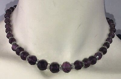 Antique Art Deco Amethyst Purple & Clear Vintage Faceted Glass Bead Necklace