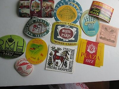 Lot of 22 Vintage 1950s Luggage Labels.  Some Doubles
