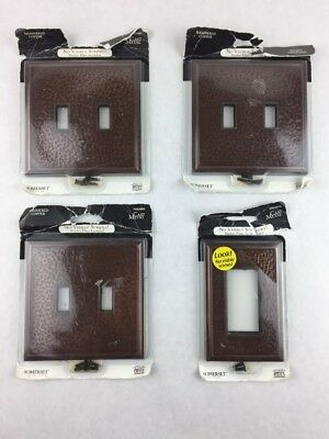 Lot of 4 Copper Factory CF120AN Solid Hammered Switch Plates