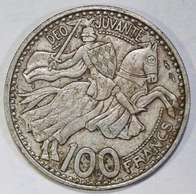 Monaco 1950 100 Francs Rainier III , Armored equestrian 29mm - Foreign Coin