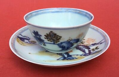 Antique 18th century Chinese Nanking Cargo tea bowl & saucer