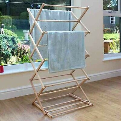 Beech Wood Folding Extendable Cloth Airer Vintage Old Style Rack Rail Concertina