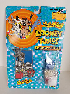 Looney Tunes Wile E Coyote Stained Glass Kit Bake A Craft Road Champs '91 Sealed
