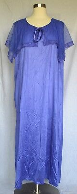 Vintage Unbranded 70's Purple Front Tie Nightgown Size 4X