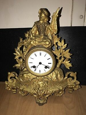 Antique France Ormolu Clock Figural Clock Stunning