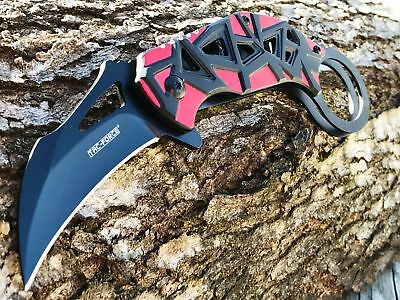 """TAC FORCE RED Spring Assisted KARAMBIT CLAW BLACK BLADE Tactical Knife Swith 7"""""""