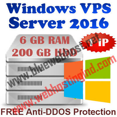 Windows 2016 VPS (Virtual Dedicated Server) 6GB RAM + 200GB HDD + DDOS