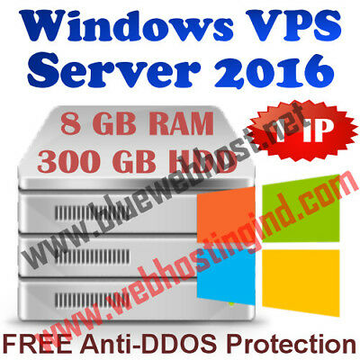 Windows 2016 VPS (Virtual Dedicated Server) 8GB RAM + 300GB HDD + DDOS