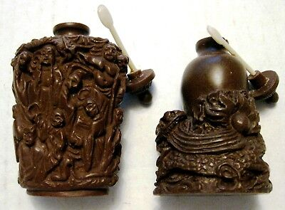 lot of 2 Antique Chinese Snuff Bottles Brown Resin Carved Figures & a Flower