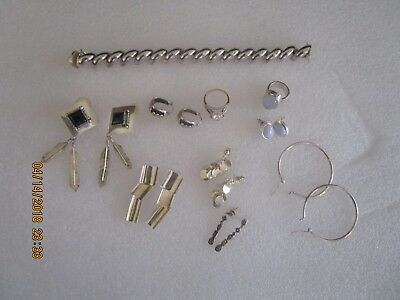 Sterling Silver.925 Wearable  Piece Mixed Jewelry Lot 122 Grams