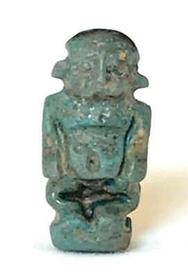 Ancient Egyptian Faience Amulet Of God Ptah; Late Dynastic 450 - 380 B.c.