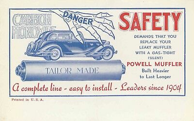 1930s Advertising Blotter POWELL MUFFLERS Card Automobile Rare