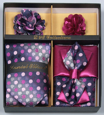 Daniel Ellissa Collections 6 Piece Mens Necktie & Bow Tie Formal Combo Set