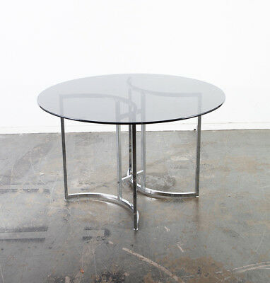 MID CENTURY MODERN Dining Table Round Glass Chrome Baughman ...