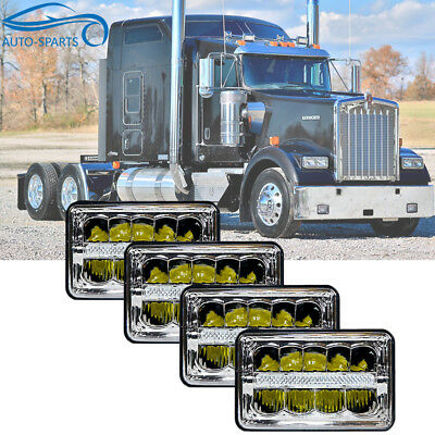"4X DOT Approved 4x6"" Cree LED Headlights DRL for Peterbilt Kenworth Freightliner"